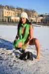 015 99x150 Nude girl in the snow with awesome green scarf