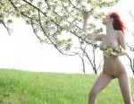 green field red head 2 150x116 hot red head nude in a field with flowers