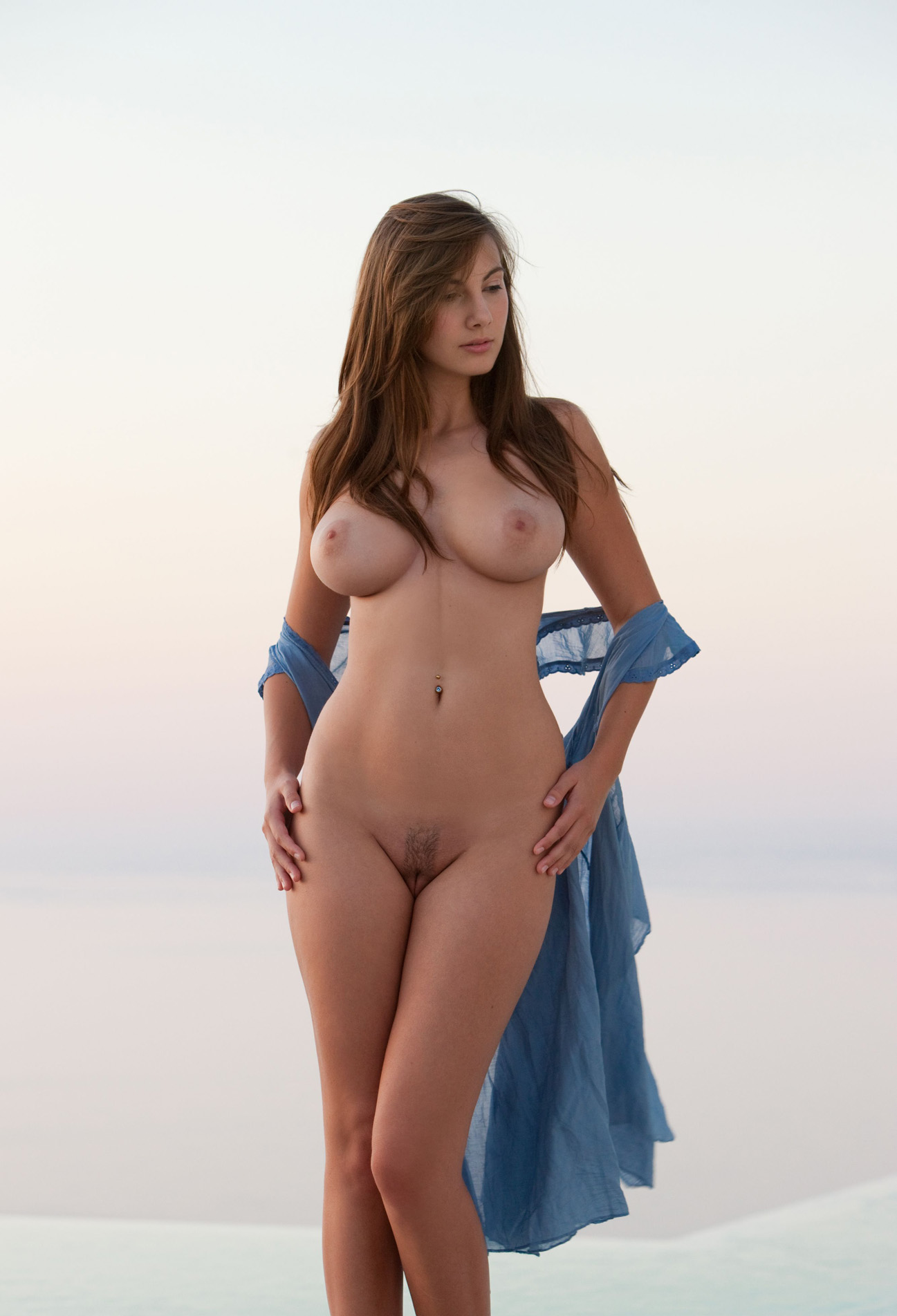 Naked woman with wide hips