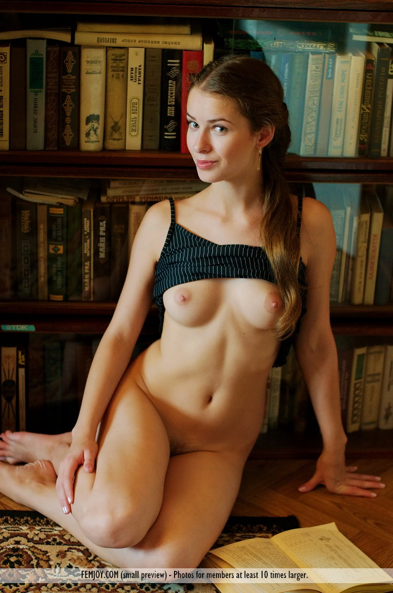 Naked library cutie